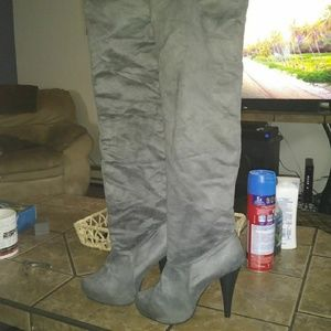Shoes - Thigh high suede boots dark grey  with 3.5' heel
